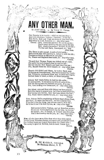 Any other man, or John Bull. By Walter W. Warren. H. De Marsan, Publisher, 54 Chatham St. N.Y