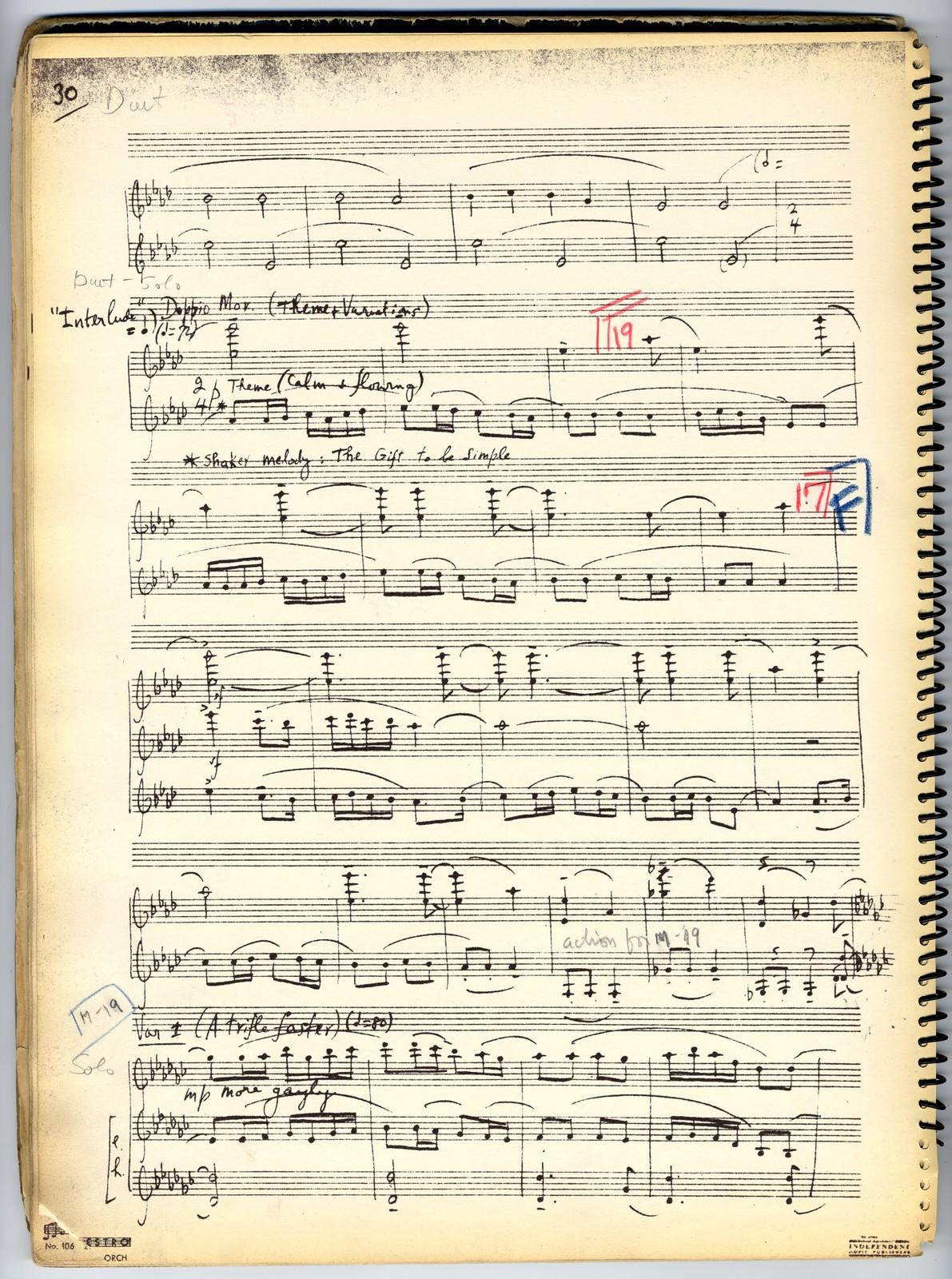 Appalachian spring (Piano rehearsal copy no. 2)