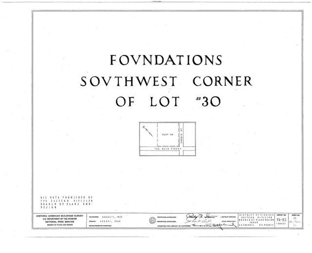 Architectural Remains (Foundations), Lot No. 30, Main & Church Streets, Yorktown, York County, VA