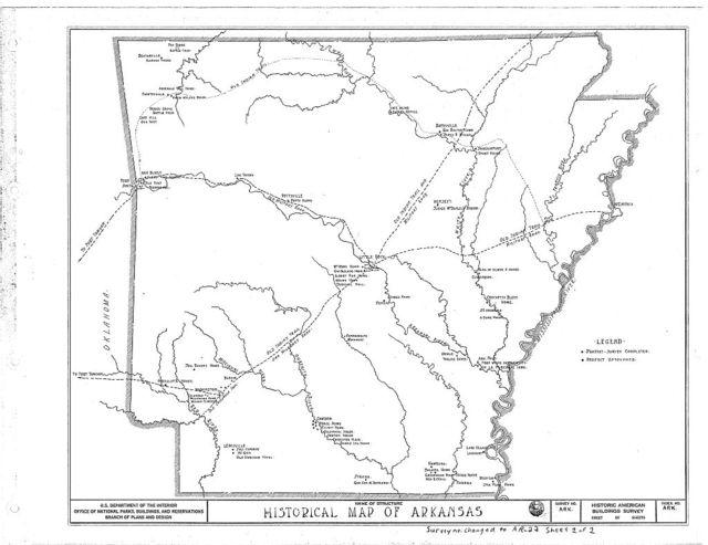 Arkansas Historical Map, Little Rock, Pulaski County, AR