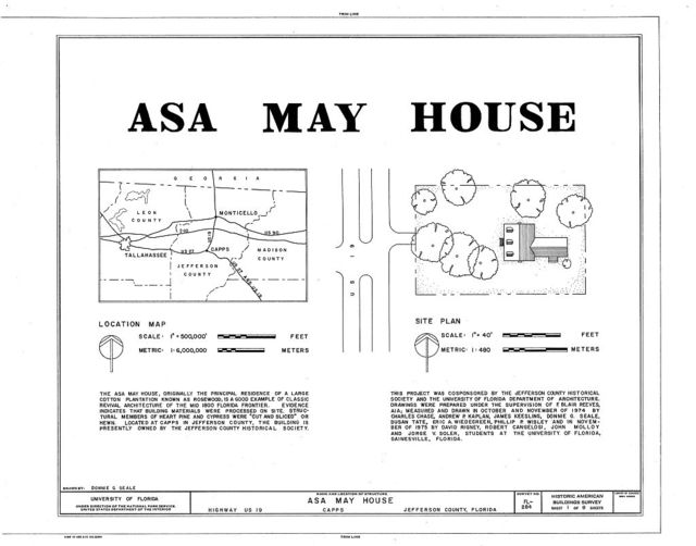 Asa May House, U.S. Route 19, Capps, Jefferson County, FL