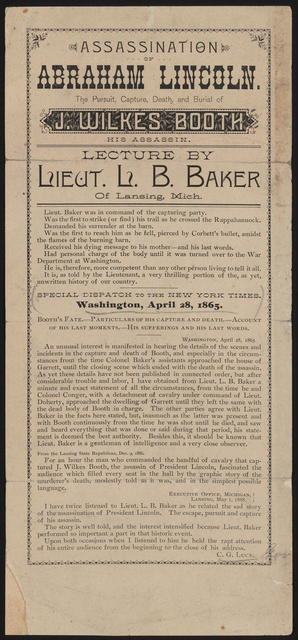 Assassination of Abraham Lincoln. The pursuit, capture, death and burial of J. Wilkes Booth.
