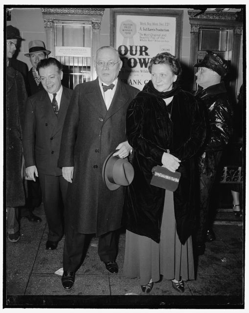 Attend 'Pins and Needles' performance. Washington, D.C., Dec. 6. Secretary of Labor Frances Perkins, and A.F. of L. President William Green as they at the National Theater last night to attend ' Pins and Needles,' the stage production of the International Ladies Garment Workers Union