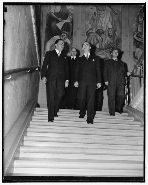 Attorney General and FBI head arrive at U.S. Attorneys Conference. Washington, D.C., April 19. Attorney General Frank Murphy and FBI Chief J. Edgar Hoover pictured as they arrived at the Department of Justice today to attend the first conference of United States attorneys