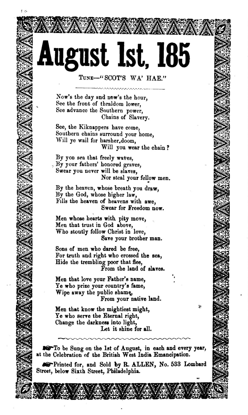 """August 1st, 185. Tune-""""Scot's wa'hae."""" Printed for and sold by R. Allen, No. 533 Lombard Street., Philadelphia"""