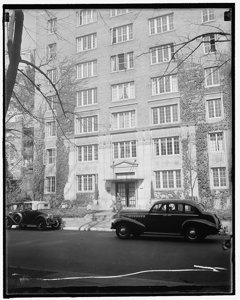 """Aunt Bessie's"" home. Washington, D.C., Oct. 29. This unimposing apartment house will no doubt be the scene of a visit from the Duke and Duchess of Windsor when they come to the National Capital sometime next month. It is the home of Mrs. D.C. Merryman, the Duchess' Aunt Bessie. The building is located in a quiet residential neighborhood, just off Connecticut Ave. 10/29/37"