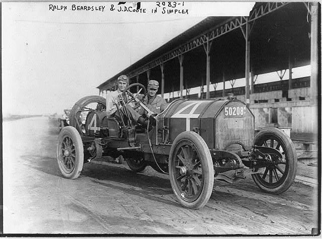 Automobiles - Ralph Beardsley and J.D. Coote in Simplex [on race track]
