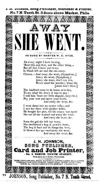 Away she went. J. H. Johnson, Song Publisher, Card and Job Printer, No. 5 North Tenth Street. Three doors above Market, Philadelphia