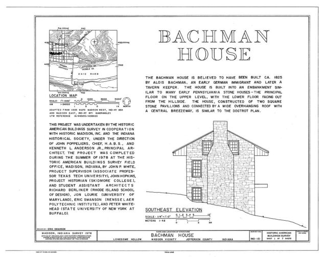 Bachman House, Lonesome Hollow, Madison, Jefferson County, IN