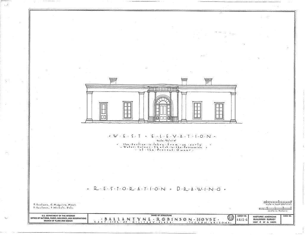Ballantyne Robinson House, Military Plaza (141 South Fifth Avenue), Tucson, Pima County, AZ