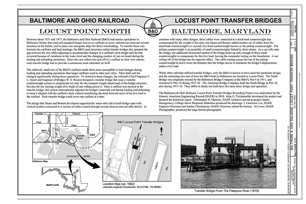 Baltimore & Ohio Railroad, Locust Point Transfer Bridges, 1055 Hull Street, Baltimore, Independent City, MD