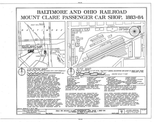 Baltimore & Ohio Railroad, Mount Clare Passenger Car Shop, Southwest corner of Pratt & Poppleton Streets, Baltimore, Independent City, MD