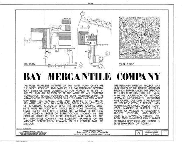 Bay Mercantile Company, Store-Residence, County Route K, south of intersection with Fowler Road, Bay, Gasconade County, MO