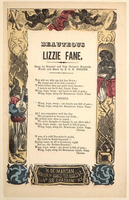 Beauteous Lizzie Fane. H. De Marsan, Dealer in songs. No. 38 Chatham Street, N.Y