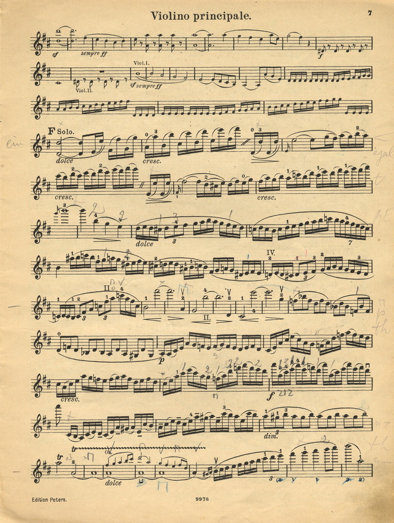 Beethoven, Ludwig van. Concerto for Violin and Orchestra, Op. 61, D major
