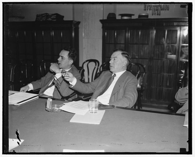 Before Senate Committee. Washington, D.C., June 8. Patrick H. Joyce, President of the Chicago and great Western Railroad, testifying before the Senate Railroad Financing Committee today, 6/8/37