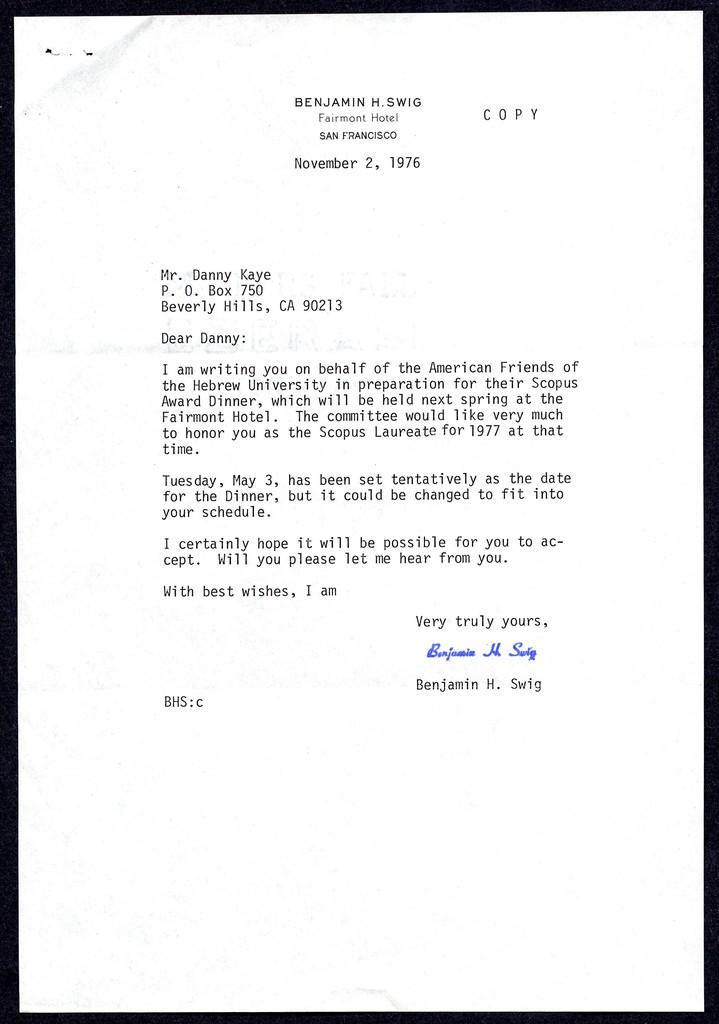 [ Benjamin H. Swig to Danny Kaye, November 2, 1976]