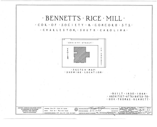 Bennett's Rice Mill, Between East Bay, Hasell, Concord & Laurens Streets, Charleston, Charleston County, SC
