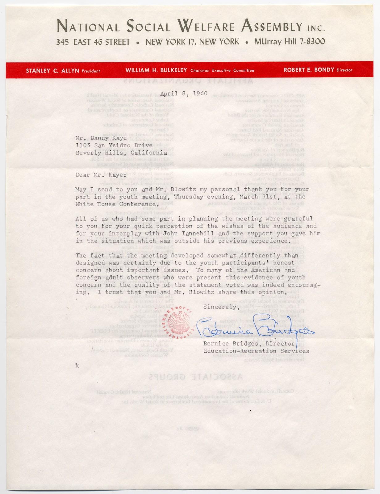 Bernice Bridges [of the National Social Welfare Assembly] to Danny Kaye, April 8, 1960