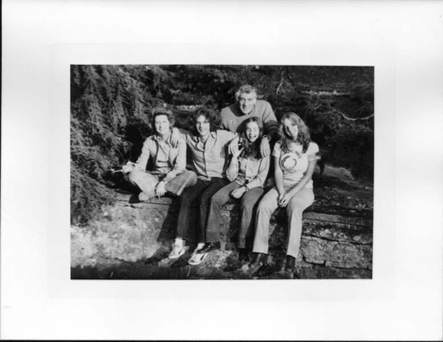 Bernstein and family. Holiday card. Photographer unidentified. (Music Division)