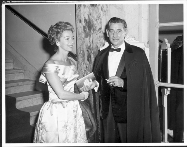 Bernstein and Felicia in evening dress at Philharmonic Pension Fund Concert. September. (Music Division)