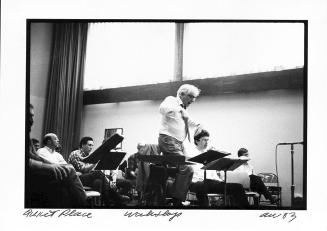 Bernstein rehearsing his opera A Quiet Place in Houston, photo dated 3/7/83.