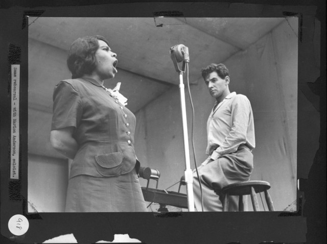 Bernstein rehearsing with singer Marian Anderson at Lewisohn Stadium, New York. June 1947. (Music Division)