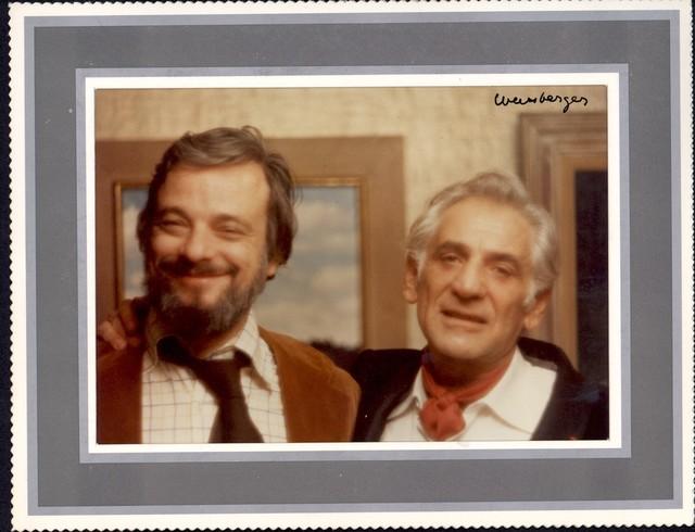Bernstein with composer/lyricist Stephen Sondheim, 1978. Photographer: Weissberger. (Music Division)