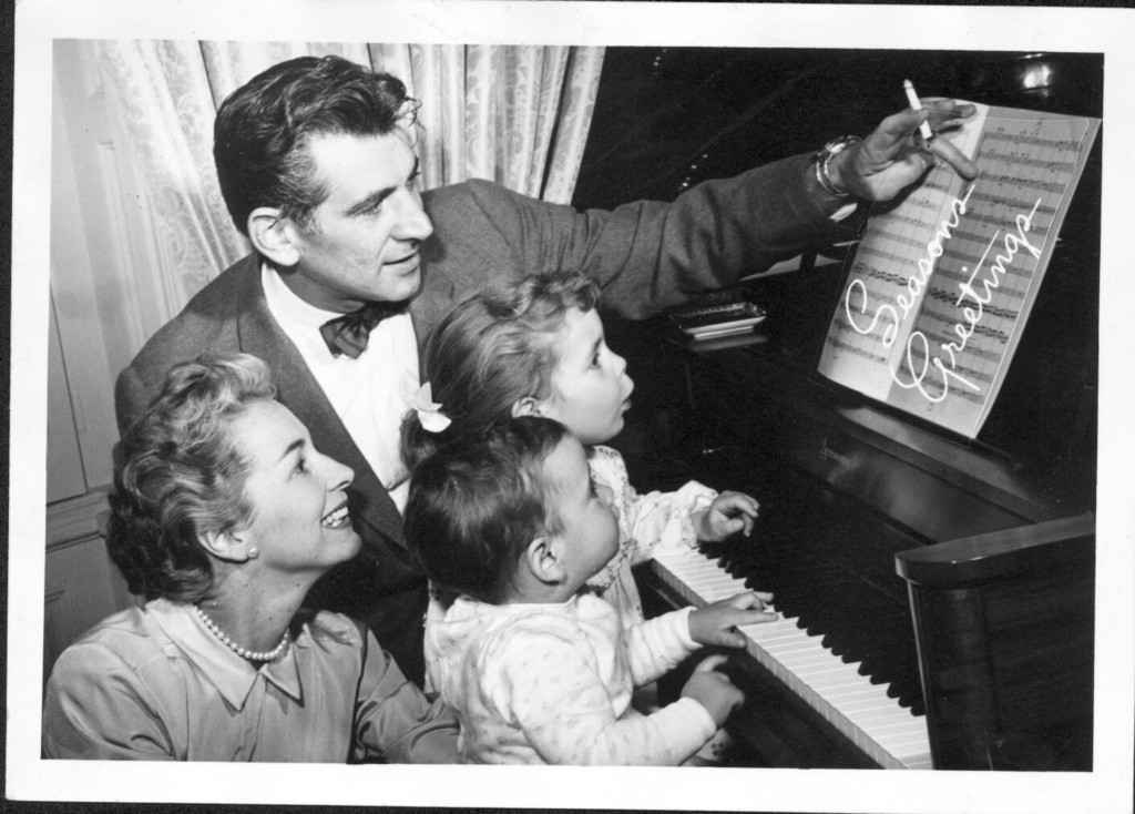 Bernstein with Felicia, Jamie and Alexander at piano. 1956. (Music Division)