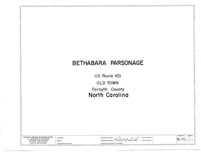 Bethabara Parsonage, U.S. Route 421, Old Town, Forsyth County, NC