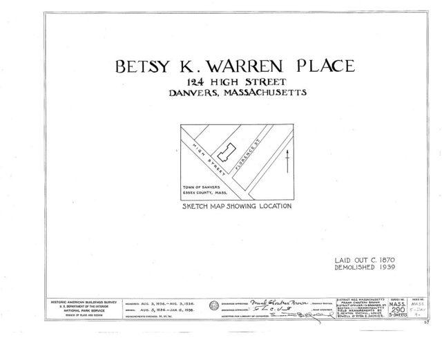 Betsy K. Warren Place, 124 High Street, Danvers, Essex County, MA
