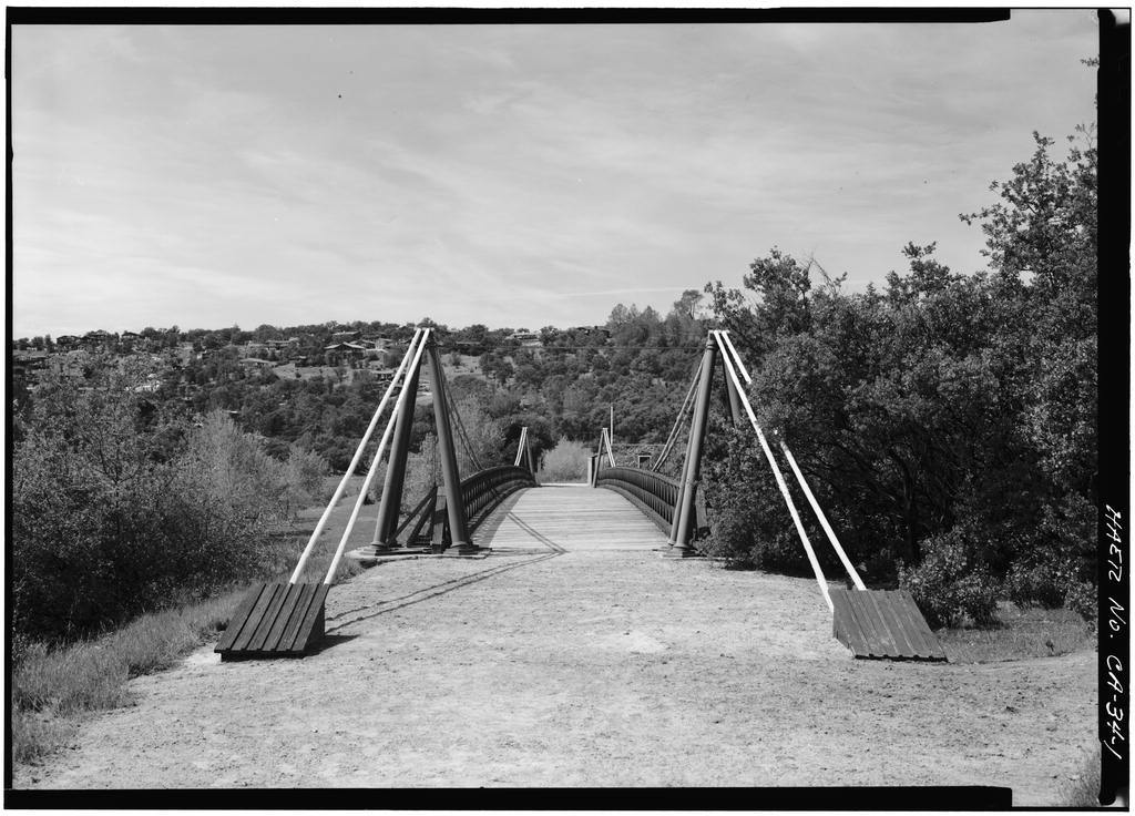 Bidwell Bar Suspension Bridge & Stone Toll House, Near Lake Oroville (moved from fork of Feather River), Oroville, Butte County, CA