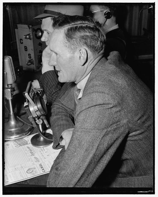 Big Train now calls 'em from the announcer's booth. Washington, D.C., April 22. 'Big Train' Walter Johnson, long time star in baseball's hall of fame, is now Washington's CBS station, WJSV, announcer of all the games played by the Senators. He is shown at the mike calling the play by play of yesterday's game between the Nats and New York Yankees