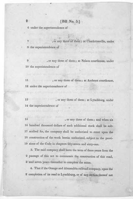 """Bill No. 5. Substitute offered by Mr. Rives of Albermarle, for the bill, entitled """"A bill to authorize the Orange and Alexandria railroad company to extend their road to Lynchburg."""" [n. d.]."""