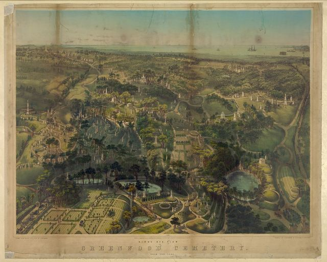 Birds eye view of Greenwood Cemetery. Near New - York