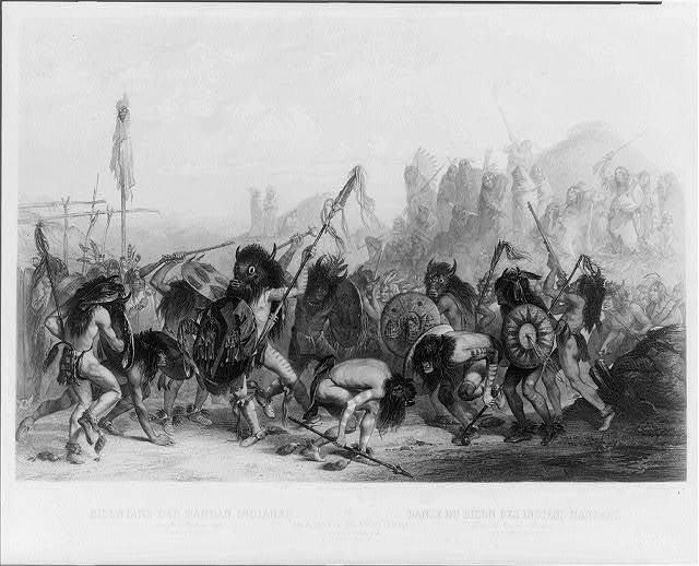 Bison dance of the Mandan Indians in front of their medicine lodge. In Mihtutta-Hankush