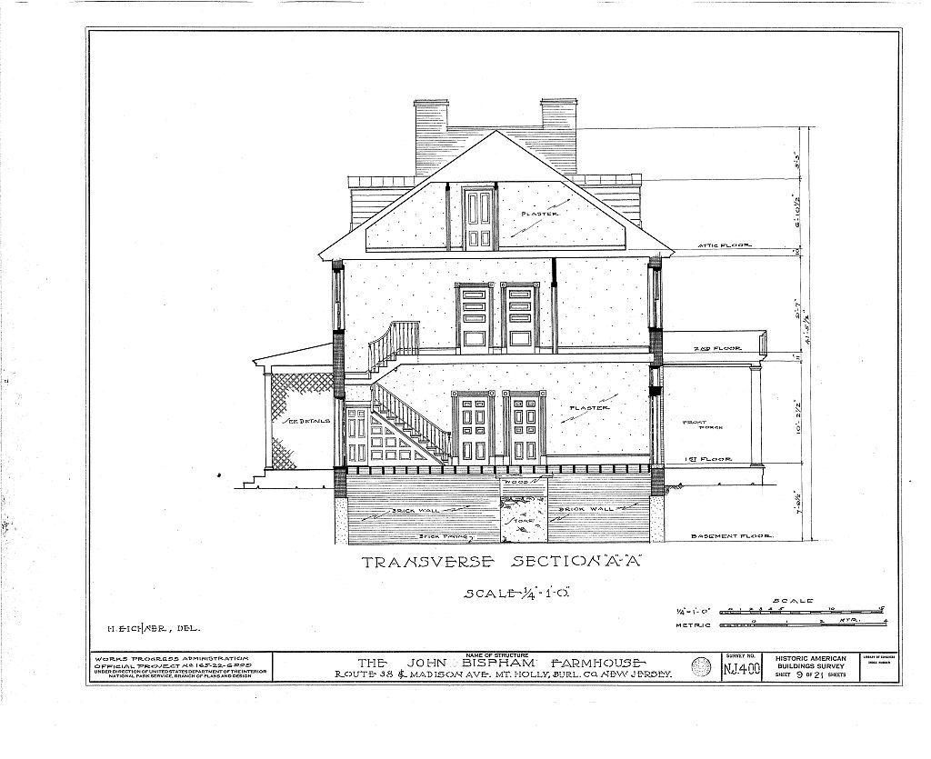 Bispham Farmhouse, Route 138 & Madison Avenue, Mount Holly, Burlington County, NJ