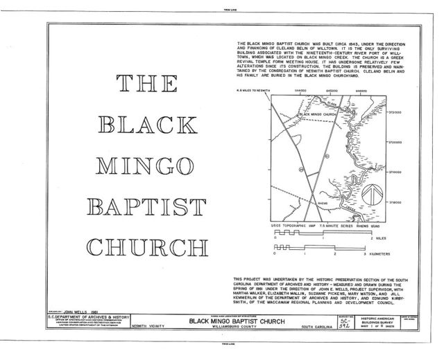 Black Mingo Baptist Church, SC Secondary Road 162, Nesmith, Williamsburg County, SC