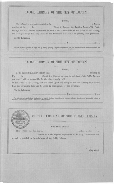 [Blank forms used by the Boston Public Library n. d.].