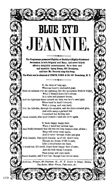Blue ey'd Jeannie. Andrews, Printer, 38 Chatham St. N.Y. Dealer in Songs, Games, Toy Books, Motto Verses, Valentines, &c