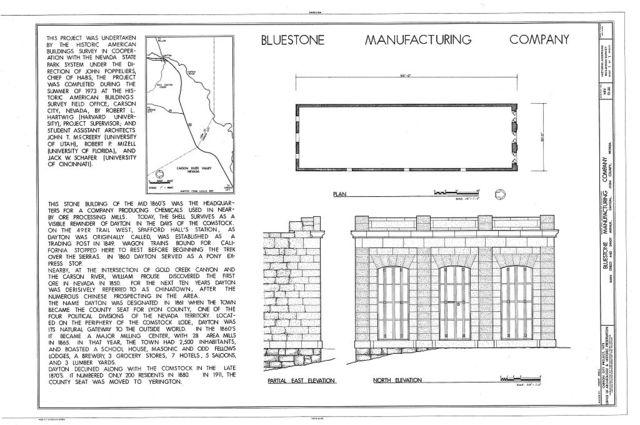 Bluestone Manufacturing Company, Main Street & Shady Avenue, Dayton, Lyon County, NV