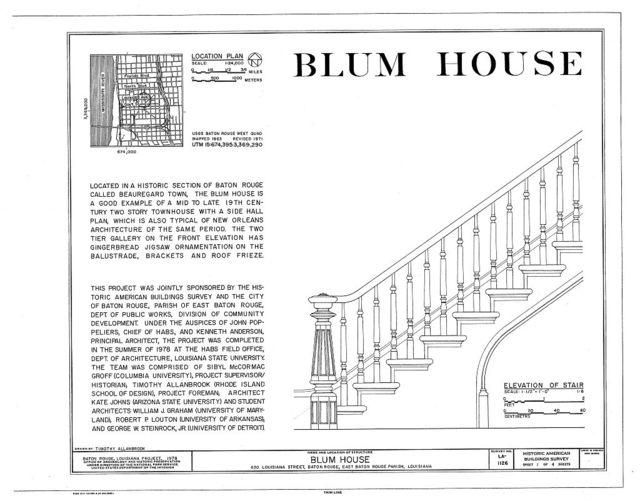 Blum House, 630 Louisiana Avenue, Baton Rouge, East Baton Rouge Parish, LA