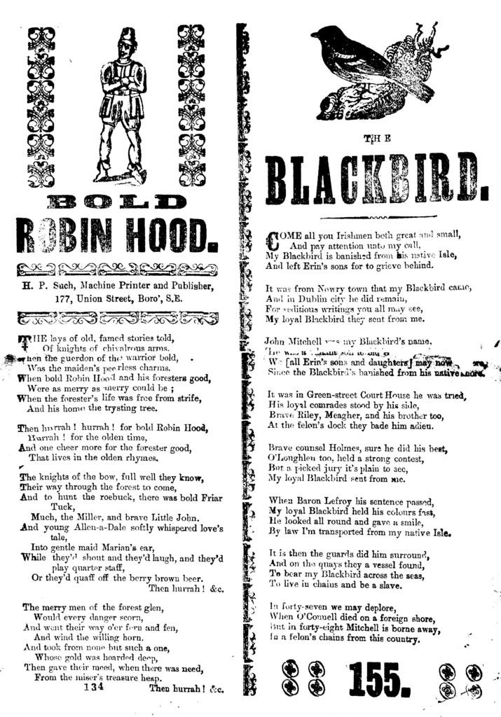 Bold Robin Hood. H. P. Such, Machine Printer and Publisher, 177, Union Street, Boro', S.E
