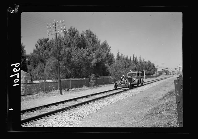Bomb explosion in Arab café on Mamillah Road in Jerusalem, on June 30 '39, Friday a.[m.]. R.R. [i.e., railroad] trolly with Arab on wheels in front of car