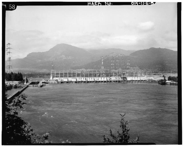 Bonneville Project, Powerhouse No.1, Spanning Bradford Slough, from Bradford Island, Bonneville, Multnomah County, OR