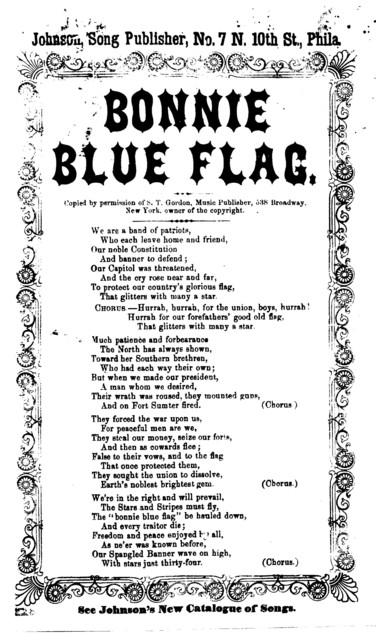 Bonnie blue flag. Johnson, Song Publisher, No. 7 N. Tenth Street, Phila