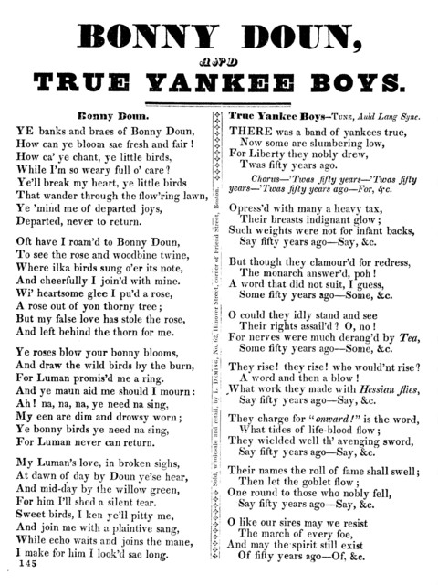Bonny Doun, and True yankee boys. Sold, wholesale and retail, by L. Deming, No. 62, Hanover street, corner of Friend Street, Boston
