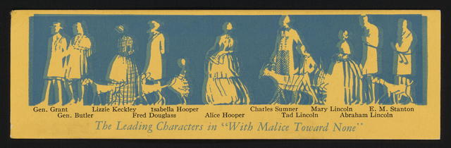 [Bookmark prospectus for three works by Willsie Morrow: With malice toward none; Forever free; and Mary Todd Lincoln.]