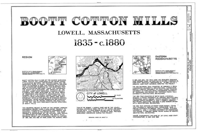 Boott Cotton Mills, John Street at Merrimack River, Lowell, Middlesex County, MA