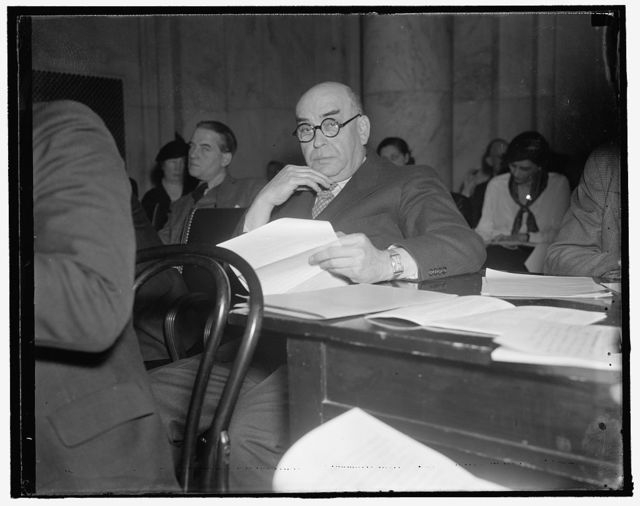 """Boston merchant before senate committee. Washington, D.C., Jan. 13. Louis E. Kirstein, Boston merchant, appearing before the senate unemployment committee, said """"that developments have reached the stage in this country where no one group of agencies can deal adequately with the totality of community needs."""" """"Neither the federal, state, nor local city or town units meet these needs. In other words,"""" he said, """"what we need is a program in which every agency, public or private, federal, state, or local will play its part without sacrificing any of the values and special contributions which each type or agency can make,"""" 1/13/38"""